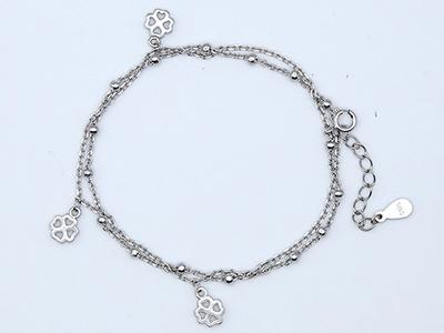 Silver Bracelet with Clovers